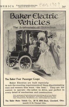 1909-1910 Baker Electric Vehicle ads