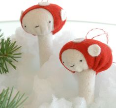 Toadstool ornaments from Fa-la-la-la-felt.