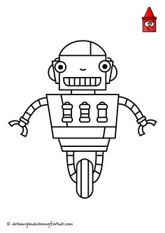 Robot Coloring Page | Draw Robot Easy | Drawing Robots For Kids