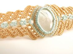 Macrame Bracelet  Gold Rutilated Quartz With Tan And by neferknots, $70.00