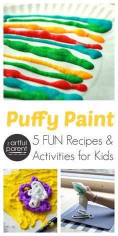 Puffy paint for kids is fun to make & play with. Here are five recipes + activities to try with kids for a sensory experience and 3D art.