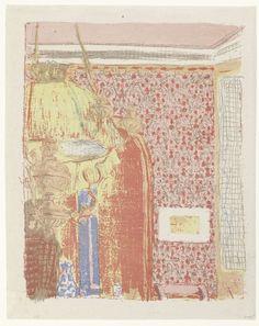 Édouard Vuillard | Interieur met roze behang en lamp, Édouard Vuillard, Ambroise Vollard, 1894 - 1899 | Interieur met heldere kleuren op de wanden, een roze behang met rood motief siert de muur. De rode kleur is ook gebruikt om andere voorwerpen in het vertrek weer te geven. Links wordt een grote lamp aan het plafond afgesneden door de beeldrand. Achter de lamp staat het silhouet van een meisje.