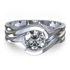 Unique Bezel Set Engagement Rings | Half Bezel 1/4 ctw Diamond Engagement Ring in 14k White Gold