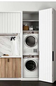 32 Laundry Room for Vertical Spaces - Zoni Hash Laundry Nook, Basement Laundry, Small Laundry Rooms, Laundry Closet, Laundry Room Storage, Laundry In Bathroom, European Laundry, Tyni House, Laundry Room Inspiration