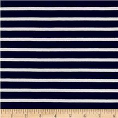 Rayon Jersey Knit Thin Stripe Navy/White