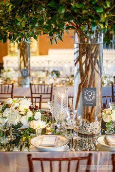 photo: Brian Dorsey Studios; Gorgeous green color wedding reception