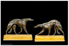 Pair of French Bronze Sculptures of Borzoi Circa 1925