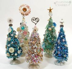 Make Embellished Bottle Brush Trees. These are so cute using cheap bottle brush trees then embellishing them with buttons, pearls, old charms, etc. How To Make Christmas Tree, Christmas Tree Crafts, Cool Christmas Trees, Christmas Projects, Xmas Tree, Holiday Crafts, Vintage Christmas, Christmas Holidays, Christmas Ornaments