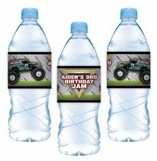 Monster Jam Grave Digger Monster Truck Party Water Bottle Label Stickers $16.50 for 15 Adhesive Labels