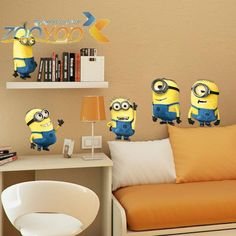Despicable me 2 cute cartoon minions wall stickers for kids rooms decorative removable pvc wall decal