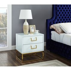 Meridian Furniture Nova Gold/White White/gold modern night stand/side table Mix functionality with a unique White Nightstand, 2 Drawer Nightstand, Bedroom Furniture, Bedroom Decor, Bedroom Ideas, Cosy Bedroom, Bedroom Apartment, Furniture Design, Country Bedroom Design