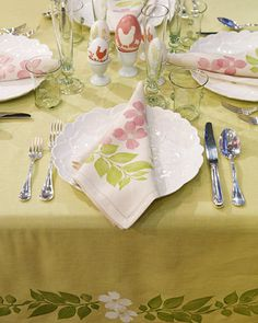 Block-Printed Floral Table Linens  Make your own Easter linens by block-printing charming leaf and flower designs onto the fabric.