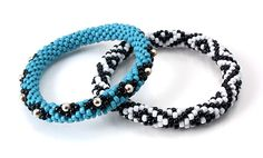 Turquoise and Sterling Silver Crochet Bead Bracelets.