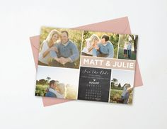 Photo Collage Blush Save the Date Card Calendar  by AndisInvites