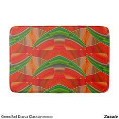 Green Red Discus Clash Bathroom Mat