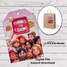 Bienvenido a mi pequeña tienda Ralph breaks the internet favor tags to give  to your guests 302dea0a315b