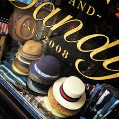 Hats in the window. #mensfashion #menswear #menstyle #dandy #dapper #sartorial #haberdashery #hellskitchen (at FineAndDandyShop.com) Hells Kitchen, Hat Shop, Classic Man, Haberdashery, Dandy, Hats For Men, Caps Hats, Men's Style, Dapper