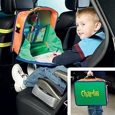 car activity organizer - i might try making something like this. looks like a pretty simple backpack type construction, straps to go around the seat, plastic for table, etc crafting-inspiration