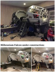 This father built his son a Star Wars Millennium Falcon bed. #Bed #MillenniumFalcon #StarWars