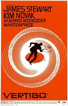 vertigo directed by Alfred Hitchcock, film poster by Saul Bass Saul Bass Posters, Old Posters, Best Movie Posters, Classic Movie Posters, Classic Films, Vintage Posters, Travel Posters, Modern Posters, Cinema Posters