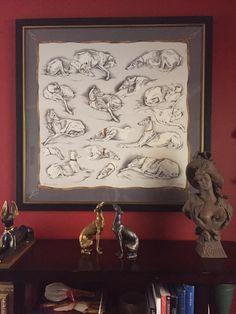 vintage Hermes greyhound scarf _framed_Guin Borstel
