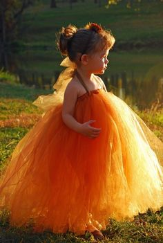 Burnt Orange Tutu Flower Girl Dress