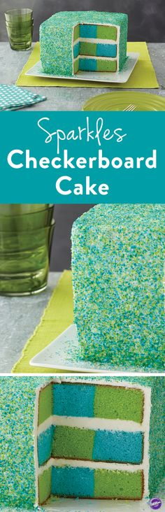 Eco Sparkles Checkerboard Cake - Fresh eco colors highlighted with sparkles decorate this cake that has the blue and green colors of our favorite planet--earth! It's fun to decorate using the Wilton Checkerboard Square Cake Pan Set, Color Right Performance Color System, cake sparkles and sugars and two cake mixes!