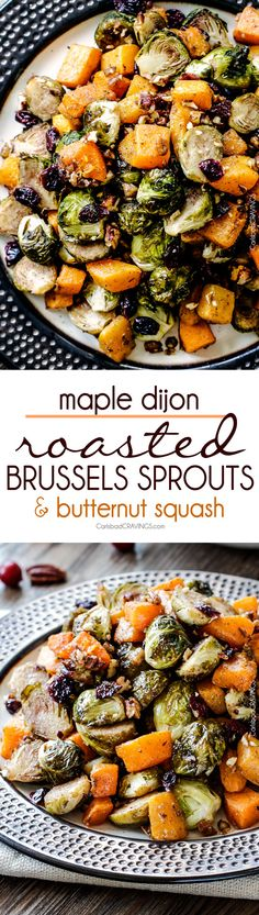 Easy Maple Dijon Roasted Brussels Sprouts and Butternut Squash tossed with cranberries and bacon for the BEST combo ever! tangy, salty, sweet, crunchy, crispy!