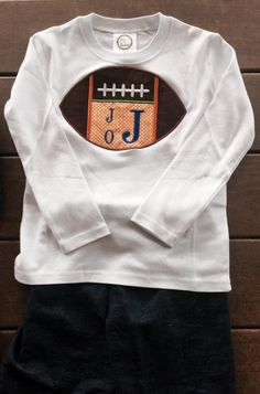 ad310ccc2 Game Day Boys Monogrammed Football Shirt - Choose your favorite teams  colors! Boys Monogram