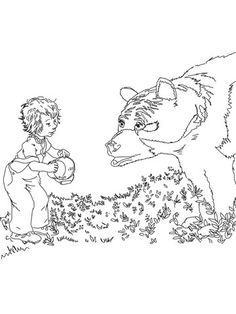 Sal Meets a Bear coloring page from Blueberries for Sal category. Select from 24661 printable crafts of cartoons, nature, animals, Bible and many more.