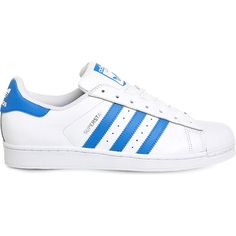 Adidas Superstar 1 leather trainers ($88) ❤ liked on Polyvore featuring shoes, sneakers, rubber sole shoes, 80s shoes, print sneakers, leather shoes and perforated leather sneakers