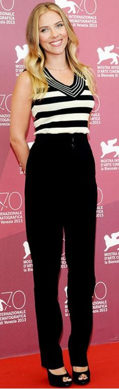 Scarlett Johansson: Shirt – Sonia Rykiel Pants – Roland Mouret Shoes – Roger Vivier