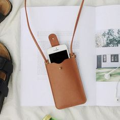 leather phone pouch with card slot at the back