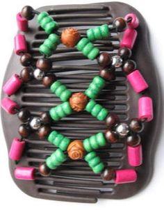 "Festive Pink Green Brown Carved Bead 4"" Magic Double Comb Set Plastic Teeth Hair   eBay"