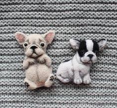 Brooch French Bulldog.  Needle felted brooch French bulldog