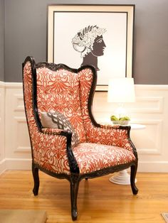 Design Star Britany's Bright Wingback Chair- this would look amazing in my living room! Upholstered Furniture, Home Furniture, Sofa Upholstery, Antique Furniture, Interior Exterior, Interior Design, Muebles Living, Love Chair, Living Comedor