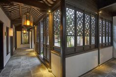 traditional style windowpanes to look through the chinese style courtyard