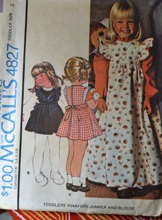 Vintage Sewing Pattern McCall's 4827  Toddler Girls' Pinafore Jumper and Blouse  Size 2 COMPLETE