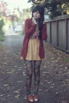 Dress, cardigan, tights - oh i am wishing for fall...