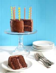 Nut-free Paleo Birthday Cake! Quick and easy with only seven ingredients --coconut flour, cacao, salt, baking soda, eggs, coconut oil, and honey.