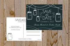 Mason Jar Save the Date Postcard by SimpleSimonPrints on Etsy, $17.00