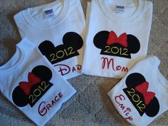 Custom made Minnie and Mickey mouse T- Shirts embroidered with free personalization on Etsy, $13.00