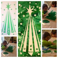 "Christmas craft for toddlers! Fun and easy Christmas craft! My 3 year old loved it & the end product I thought was very nice!  To make you need: ""draw out something like a Christmas tree, snowflake. Angel, star, snowman anything really"" Need canvas, Painters tape, Paint, Brush/Hands!"