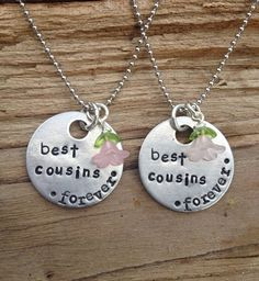 best cousins forever hand stamped necklace.