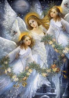 gif ange · The darkness purple Christmas Images, Christmas Angels, Christmas Art, Beautiful Christmas, Vintage Christmas, Angel Images, Angel Pictures, Angel Protector, I Believe In Angels