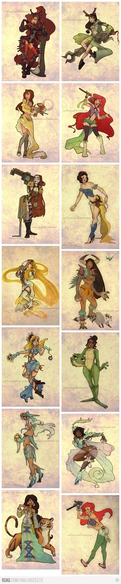 Disney princesses, Final Fantasy style these would make AWESOME cosplay!
