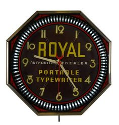 Royal Typewriter Advertisement Spinner Clock by Neon Products Circa 1937 G1110