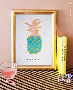 french - Ananas / Pineapple illustrated digital print poster with gold leaf flakes