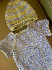 The Knitted Baby Onsie is a great first garment piece for a beginner, a super quick baby shower gift or a stash buster project (only takes one skein!).