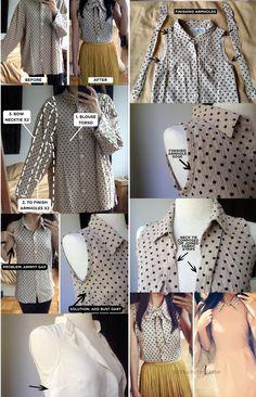 WhatToDoWithOld What To Do With Old Button-Up Shirts? WhatToDoWithOld O que fazer com camisas velhas de botão? Diy Clothes Refashion, Shirt Refashion, Diy Shirt, Upcycle Shirts, Remake Clothes, Sewing Clothes, Fashion Sewing, Diy Fashion, Diy Vetement